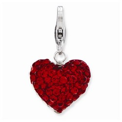 3-D Red Crystal Heart Charm By Amore La Vita